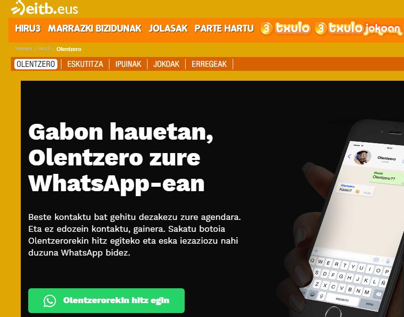 ¡ El Olentzero tiene WhatsApp !