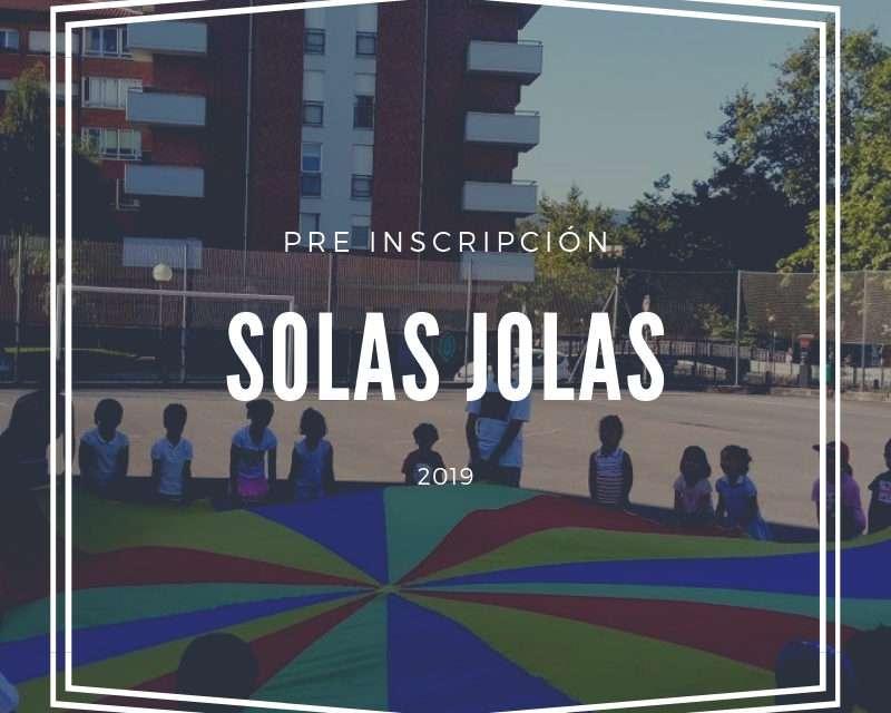 Pre-inscripción para las colonias de verano Solas Jolas 2019