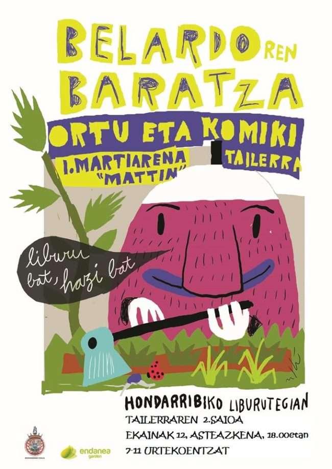 segundo taller con Mattin Ilustrazioa en la Hondarribiko Liburutegia dentro del proyecto Belardoren Baratza