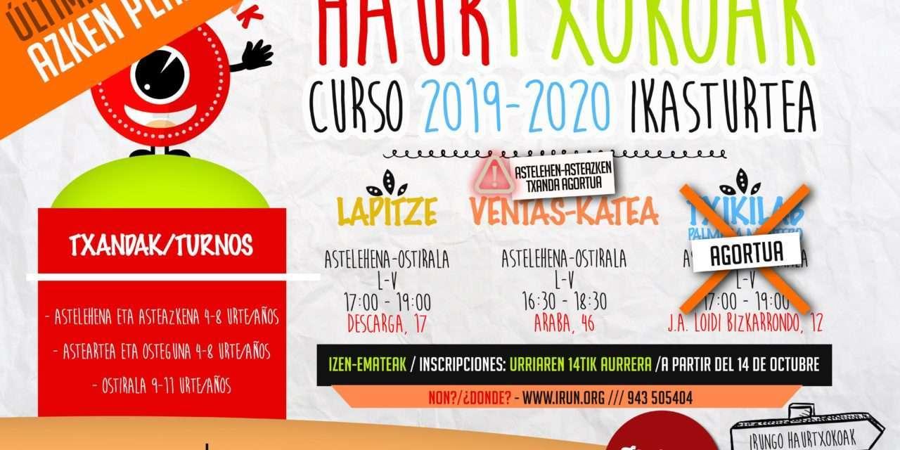 Irungo Haurtxokoak: se abren las pre-inscripciones para el nuevo curso